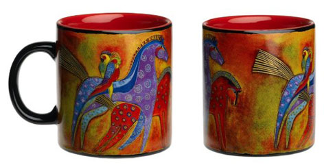 Ponies with Parrots Mug by Laurel Burch